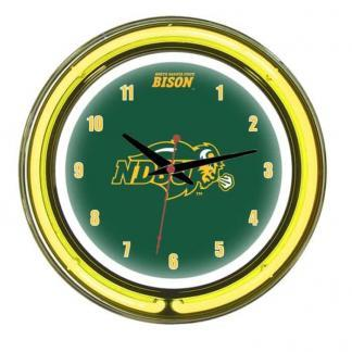 North Dakota State Bison Neon Wall Clock | Moneymachines.com