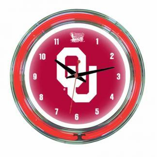 Oklahoma Sooners Neon Wall Clock | Moneymachines.com