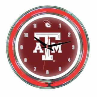 Texas A&M Aggies Neon Wall Clock | Moneymachines.com