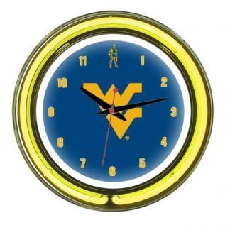 West Virginia Mountaineers Neon Wall Clock | Moneymachines.com