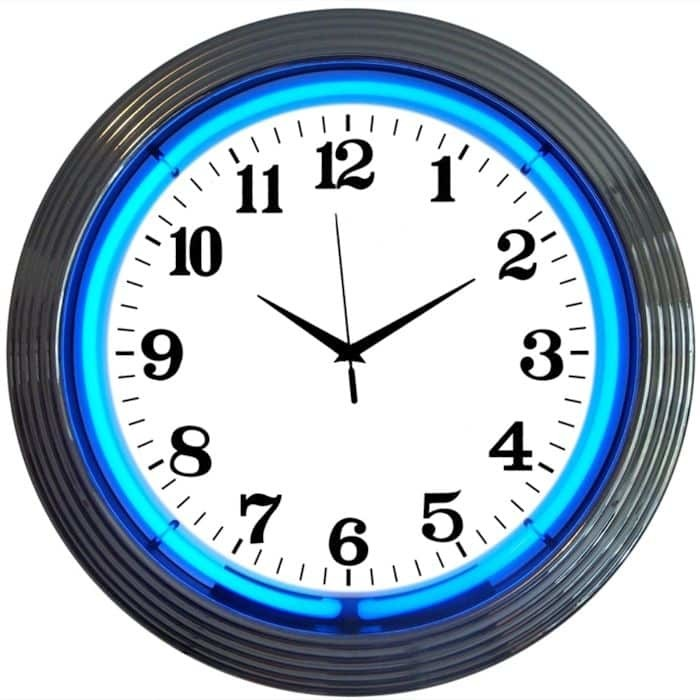 ALPHANUMERIC – CHROME RIM BLUE NEON CLOCK – 8CHRCB | moneymachines.com