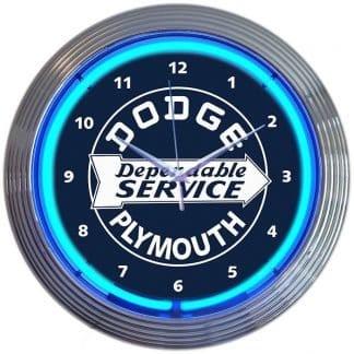 AUTO – DODGE DEPENDABLE SERVICE NEON CLOCK – 8DODGE   moneymachines.com