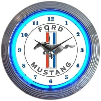AUTO – FORD MUSTANG BLUE NEON CLOCK – 8MUST1 | moneymachines.com