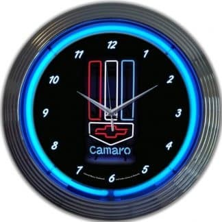 AUTO – GM – CAMARO RED, WHITE AND BLUE NEON CLOCK – 8CAMRWB | moneymachines.com