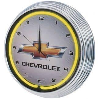 AUTO – GM – Chevrolet Gold Bowtie Yellow Neon Wall Clock – 8CHVYY | moneymachines.com