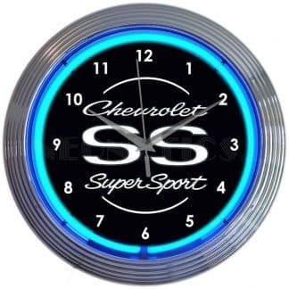 AUTO – GM – CHEVROLET SS SUPER SPORT BLUE NEON CLOCK – 8CHVSS | moneymachines.com