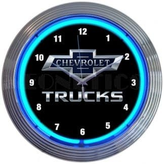 AUTO – GM – CHEVY TRUCKS 100TH ANNIVERSARY BLUE NEON CLOCK – 8CHVTK | moneymachines.com