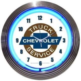 AUTO – GM – CHEVY TRUCKS CHEVROLET SERVICE NEON CLOCK – 8TRUCK   moneymachines.com