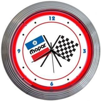 AUTO – MOPAR CHECKERED FLAG NEON CLOCK – 8MPFLG   moneymachines.com