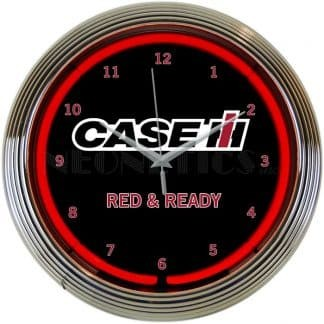 CASE IH RED AND READY NEON CLOCK – 8CASEC | moneymachines.com