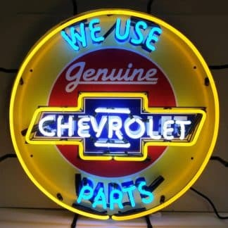 CHEVY PARTS NEON SIGN WITH BACKING – 5CHVBK | moneymachines.com