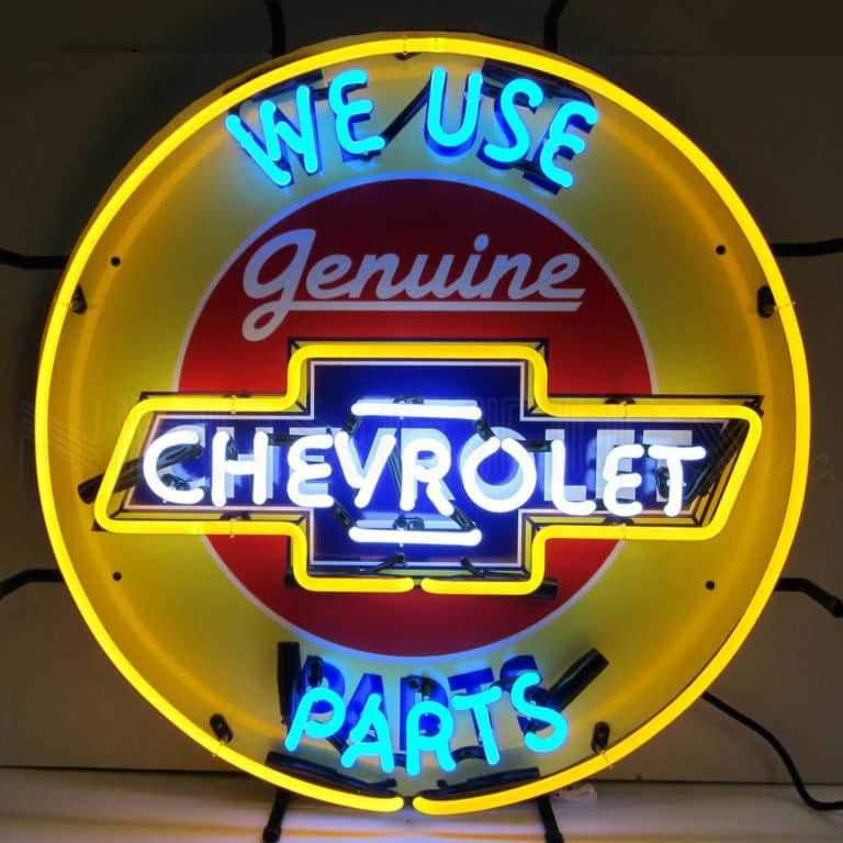 CHEVY PARTS NEON SIGN WITH BACKING – 5CHVBK   moneymachines.com