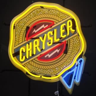 CHRYSLER BADGE NEON SIGN WITH BACKING – 5CRYBK | moneymachines.com