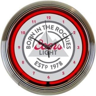 COORS LIGHT BORN IN THE ROCKIES NEON CLOCK – 8MCOOR   moneymachines.com