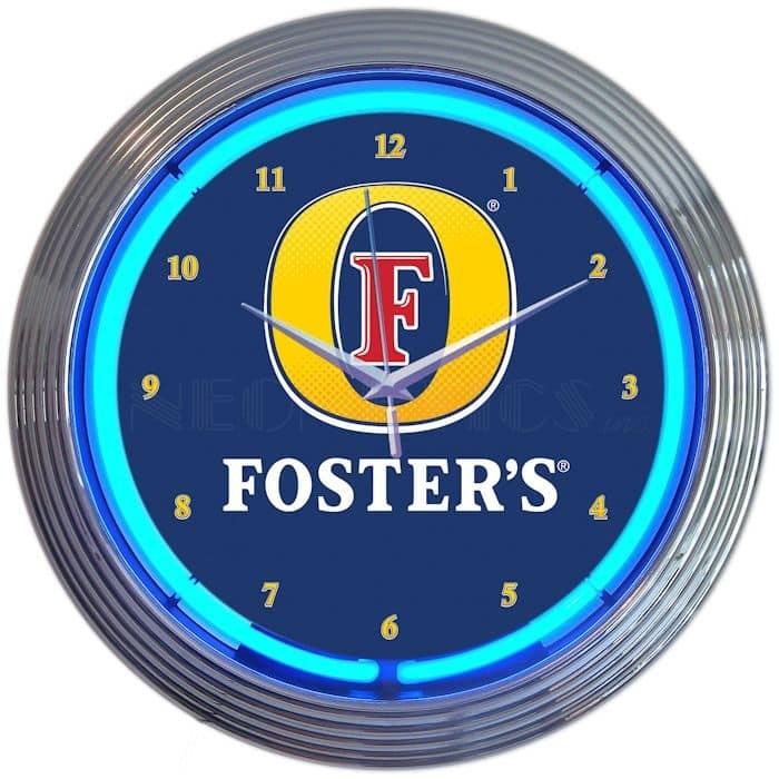 FOSTERS BEER NEON CLOCK – 8MCFST   moneymachines.com