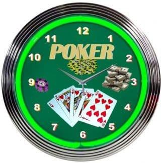 GREEN POKER NEON CLOCK – 8POKER | moneymachines.com
