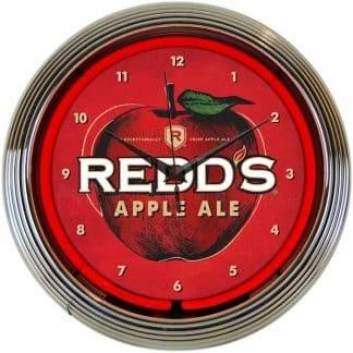 REDDS APPLE ALE NEON CLOCK – 8MCRED   moneymachines.com