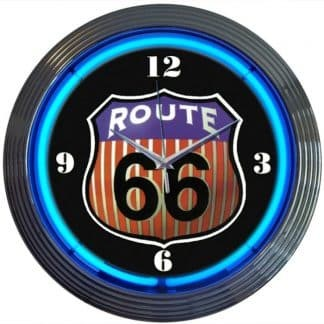 ROUTE 66 NEON CLOCK – 8RT66R   moneymachines.com