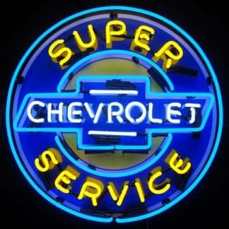 SUPER CHEVROLET SERVICE NEON SIGN WITH BACKING – 5CHEVYB   moneymachines.com
