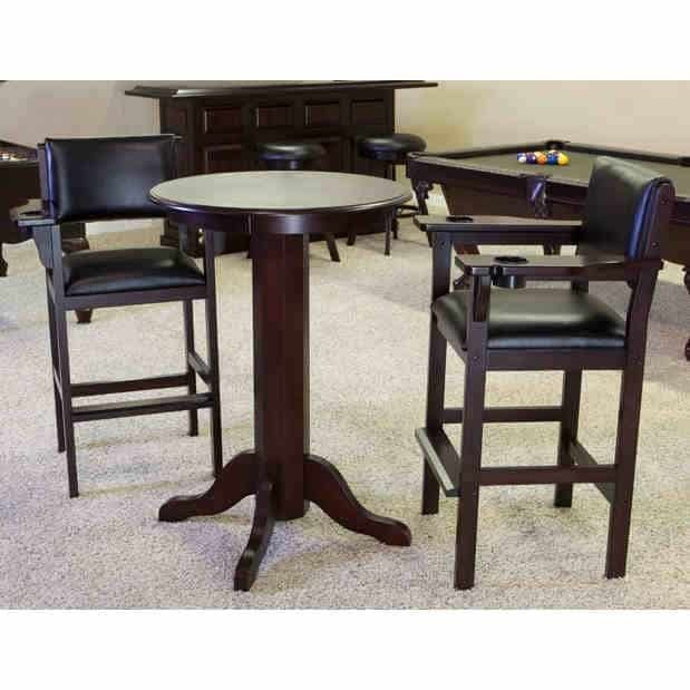 Level Best 30 Inch Pub Table and 2 Billiard Spectator Chairs Set | moneymachines.com