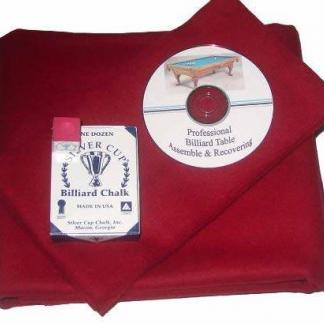 Proline Classic 303 Precut Burgundy Color Billiard Cloth Re-felting Kit | moneymachines.com