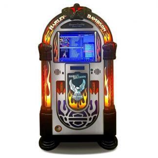 Rock-Ola Bubbler Harley-Davidson Music Center Jukebox Brushed Aluminum   moneymachines.com